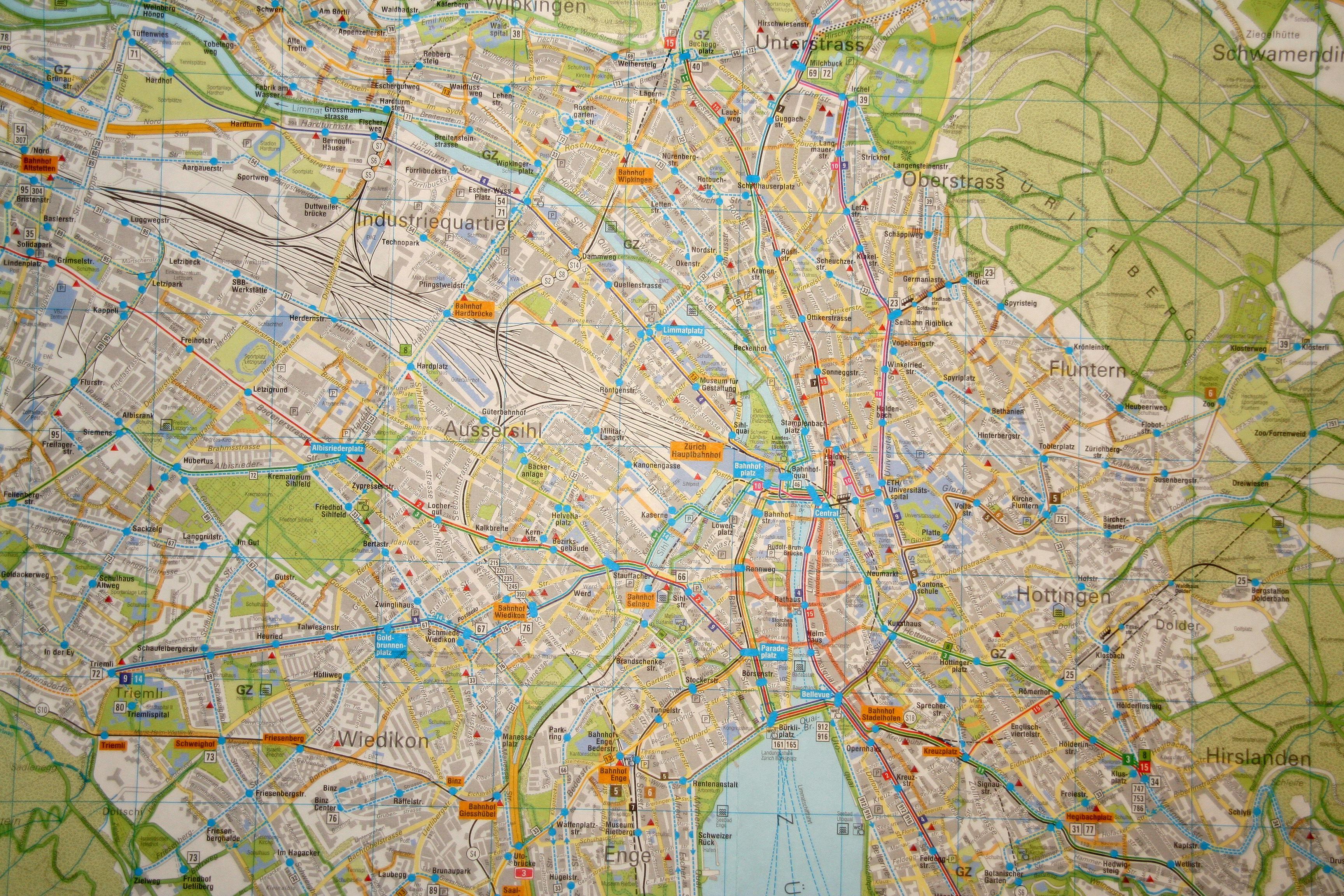 Zurich map on